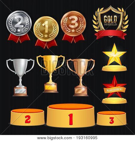 Award Trophies Vector Set. Achievement For 1st, 2nd, 3rd Place Ranks. Ceremony Placement Podium. Golden, Silver, Bronze Achievement. Championship Stars. Laurel Wreath