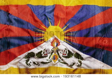 National Flag Of Tibet, Wooden Background