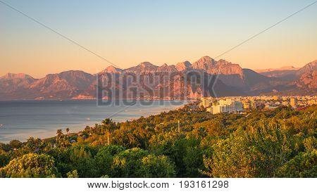 View Of Antalya Mediterranean Seacoast At Sunset, Antalya, Turkey