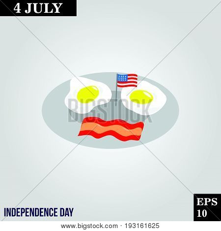 Breackfast eggs and bacon icon in trendy flat style isolated on grey background. Usa independence day symbol for your design, logo, UI. Vector illustration, EPS10.