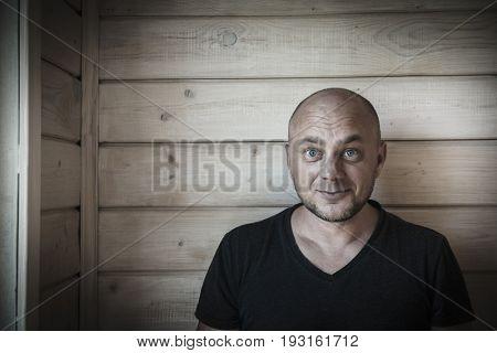 Bald joyful man portrait