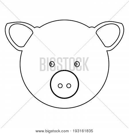 Pig Head   The Black Color Icon .
