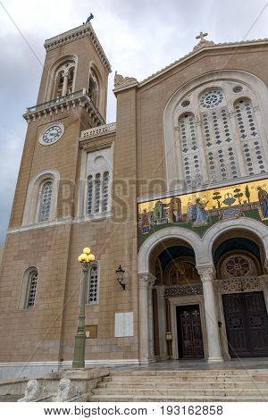 ATHENS, GREECE - JANUARY 20, 2017:  Amazing view of Metropolitan Cathedral in Athens, Attica, Greece