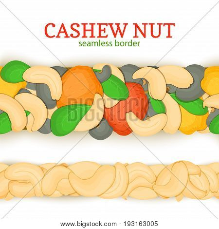 Ripe cashew nut horizontal seamless borders . Vector illustration card Wide and narrow endless strip with cashew nuts fruits and leaves for design of breakfast, healthy eating, detox, cosmetics.