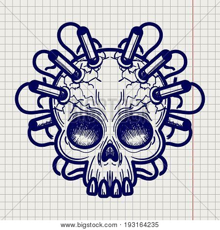 Ballpoint pen sketched monsters skull with dynamite on notebook page backdrop. Vector illustration