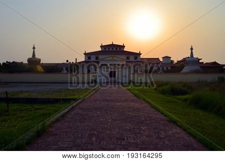 Austrian buddhist temple in Lumbini, Nepal - birthplace of Buddha Siddhartha Gautama. Mother temple of the graduated path to enlightenment