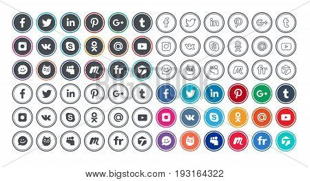 Set of social networking icons in different styles