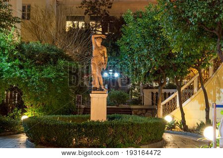 ATHENS, GREECE - JANUARY 20, 2017: Night photo of Numismatic Museum in Athens, Attica, Greece