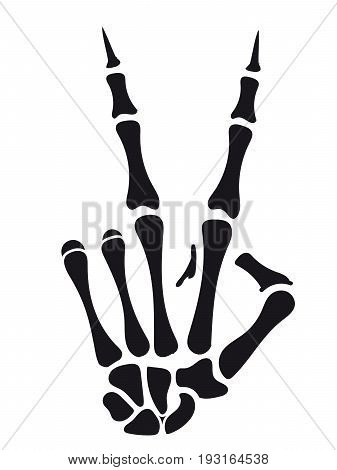 Skeleton hand victory sign isolated on white backdrop. Vector illustration