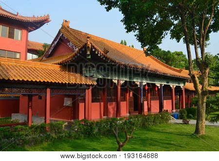 Traditional Chinese Buddhist temple in Lumbini, Nepal - birthplace of Buddha Siddhartha Gautama.
