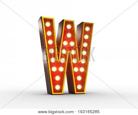 High quality 3D illustration of the letter W in vintage style with light bulbs illuminating it.