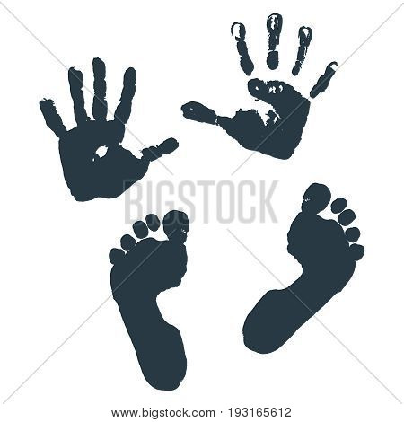 Imprint of children s palms and feet. Vector illustration.