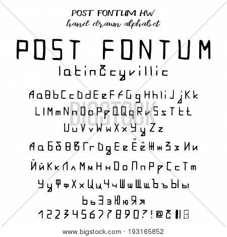 Hand drawn alphabet written font in postal style: capital and lower latin and cyrillic letters numbers and some punctuation. Vector illustration