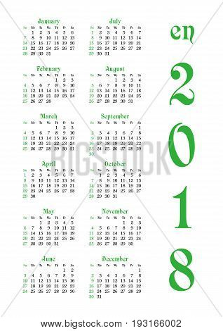 Calendar grid for 2018 with noted weekend days in green. Simple design. First day of week - Sunday. Suitable for USA Japan Canada. Vertical orientation. Vector illustration
