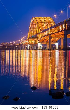 Bridge Of Seoul Banghwa Bridge Beautiful  Han River At Night, Seoul,  South Korea.