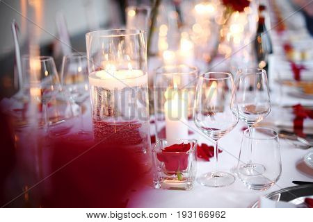 Romantic Candlelit Dinner Table Setting