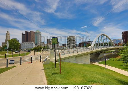 Columbus, Ohio with the Main Street Bridge in the foreground