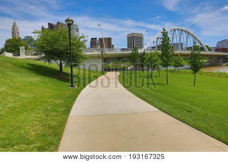 The Scioto Trail runs along the river in Columbus, Ohio