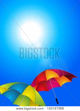 Sunny Blue Sky Background with Colourful Umbrellas and Lens Flares