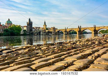 View of the Charles Bridge from the Vltava river embankment, Prague