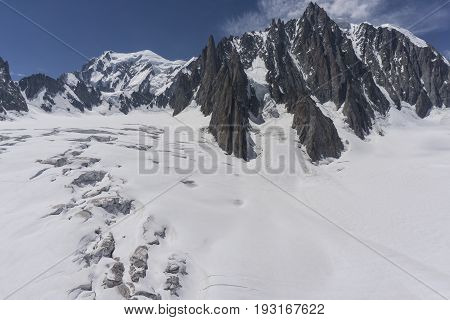 The beautiful majestic scenery of the Mont Blanc massif. Alps.