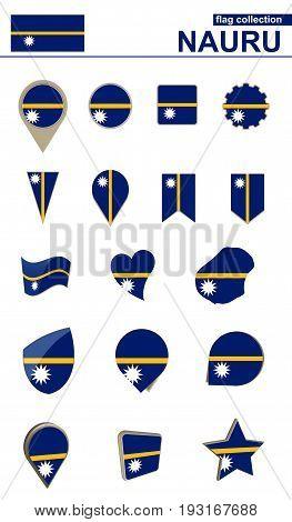 Nauru Flag Collection. Big Set For Design.