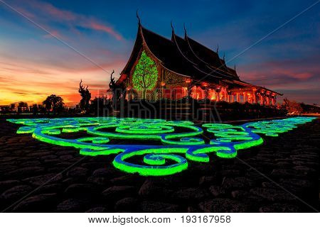 Sirindhorn Wararam Phu Prao Temple (Wat Phu Prao) Ubon Ratchathani Thailand Unseen.with the beauty of the temple. And views in the temple area A viewpoint overlooking the river. Mountain and Laos with neighbors or the identity of the landmark measure that poster