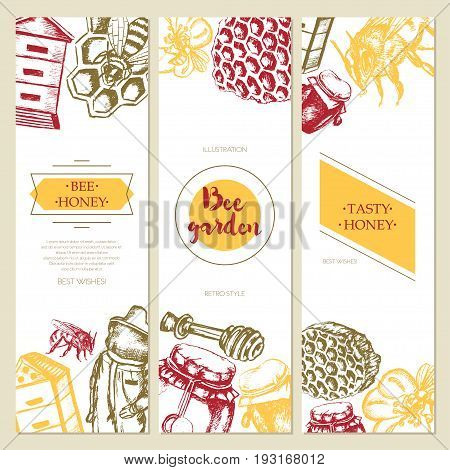 Bee Garden - three piece color vector hand drawn square banner template with copy space. Realistic honey pot, jug, spoon, bee, flower, honeycomb, apiary, bee-garden, beekeeper, safety costume