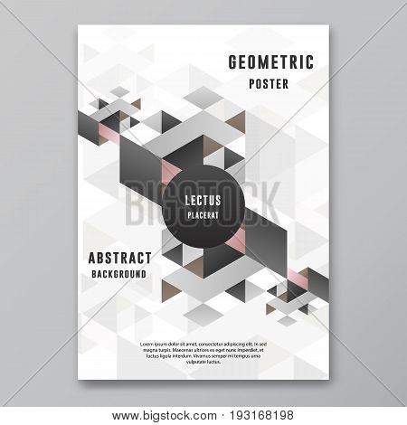 Geometric Abstract Poster Cover design template isometric dynamic vector graphic background for flyer presentations or annual reports