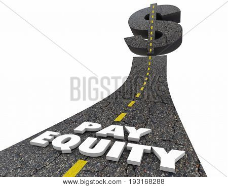 Pay Equity Road Dollar Sign Work Equality 3d Illustration poster