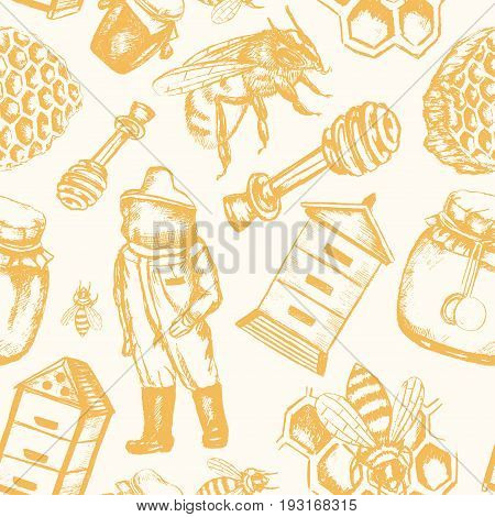 Bee Garden - yellow and white vector hand drawn seamless pattern. Realistic honey pot, jug, spoon, bee, flower, honeycomb, apiary, bee-garden, beekeeper, safety costume. Represent your small business.