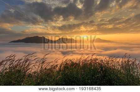 Landscape misty view Fantastic dreamy sunrise on the mountains with a beautiful view. Foggy clouds above the landscape.