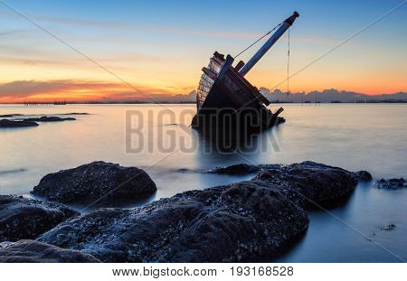 An Old Shipwreck Or Abandoned Shipwreck Taken During A Beautiful Sunset , Wrecked Boat Abandoned Sta