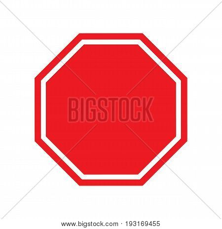 Red blank stop sign isolated on white background. Vector stock.