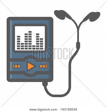 Music player colorful line icon, mp and device, vector graphics, a filled pattern on a white background, eps 10.