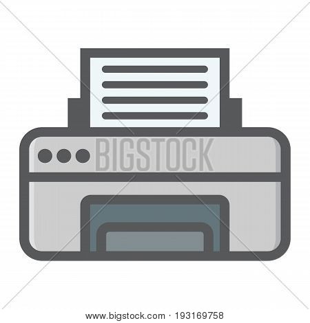 Printer colorful line icon, fax and office, vector graphics, a filled pattern on a white background, eps 10.
