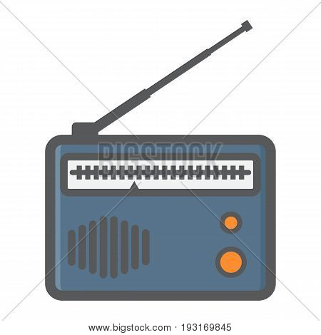 Radio colorful line icon, fm and communication, vector graphics, a filled pattern on a white background, eps 10.