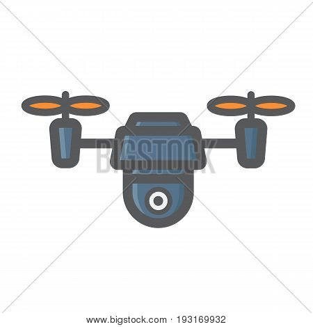 Drone colorful line icon, fly and copter, vector graphics, a filled pattern on a white background, eps 10.