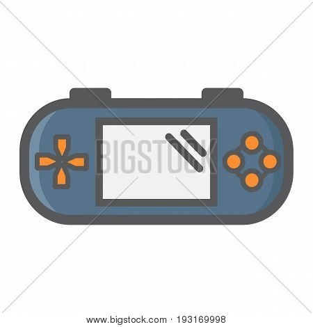 Handheld game console colorful line icon, controller and gadget, vector graphics, a filled pattern on a white background, eps 10.