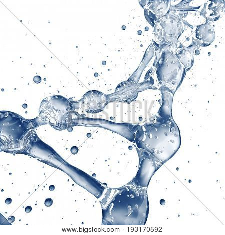 Science background with DNA molecules from water on white. 3D rendering
