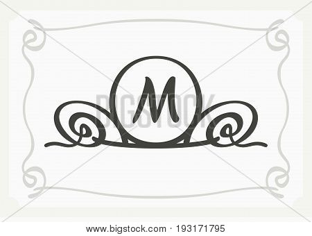 Stylish graceful monogram , Elegant line art logo design in Art Nouveau style.
