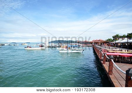 Tourist Boats At Jetty Jesselton Point, Kota Kinabalu