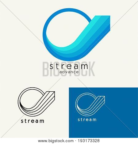 Arrow from circle tending upwards . Trendy minimalistic template design for logos, emblems, symbols, Icon. Vector elements with business card