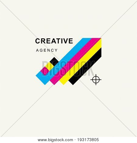 Arrow in colors CMYK upward tending . Trendy minimalistic template design for logos, emblems, symbols, Icon