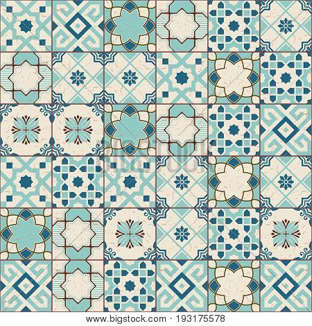 Gorgeous seamless pattern white old green Moroccan, Portuguese tiles, Azulejo, ornaments. Can be used for wallpaper, pattern fills, web page background, surface textures.