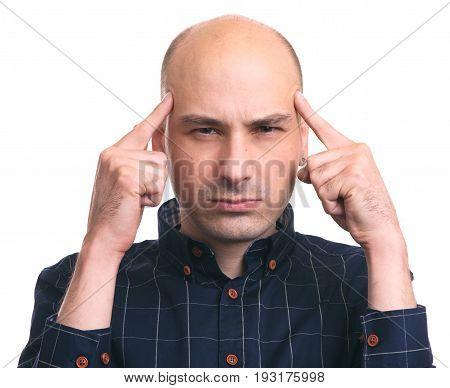 Thoughtful Bald Man Thinking