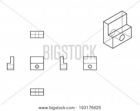 Technical Drawing with perspective and orthogonal views.