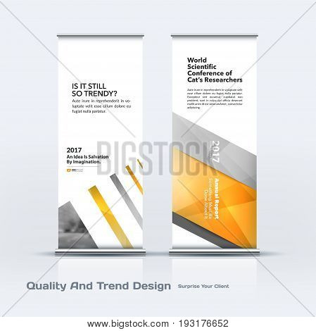 Abstract business vector set of modern roll Up Banner stand design template with yellow lines, diagonal shapes for eco, market, exhibition, show, expo, presentation, parade, events.