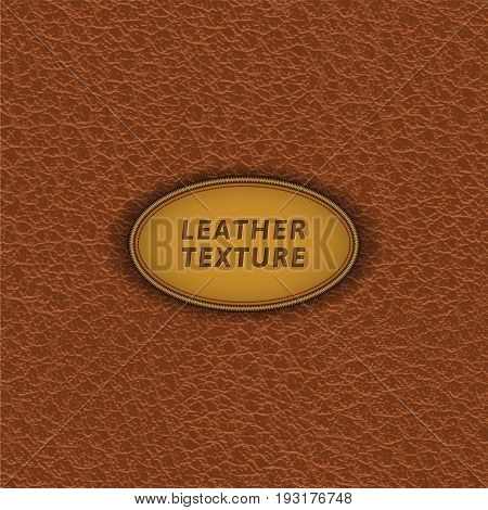 Brown leather texture. Vector skin seamless pattern.