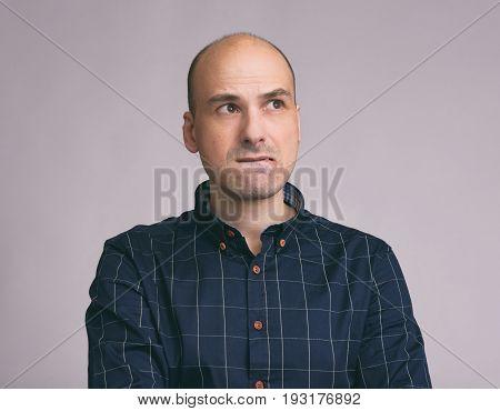 Worried Man Feeling Nervous